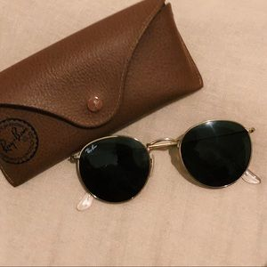 RAY BAN GOLD ROUND METAL SUNGLASSES (RB 3447)